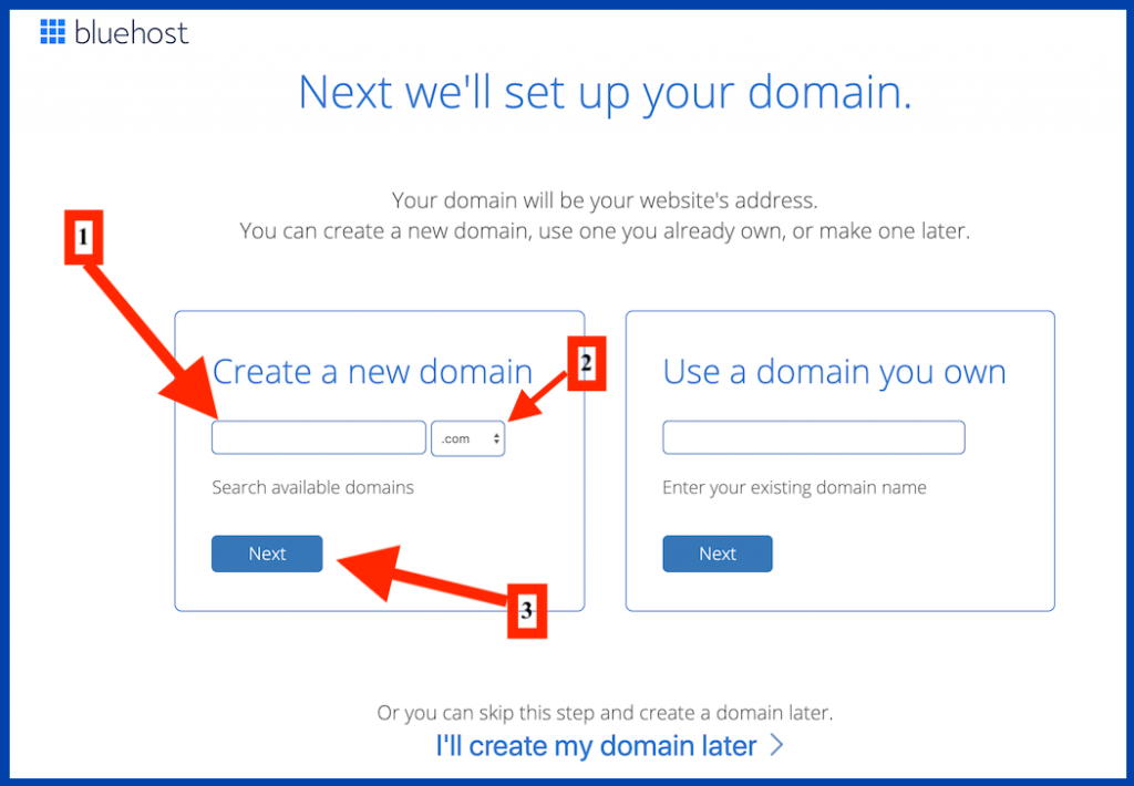 bluehost form create new domain