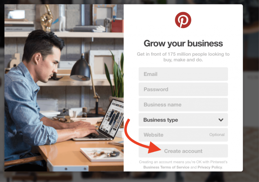create pinterest account, pinterest account, create personal pinterest account, pinterest/business/create, pinterest account creation, pinterest business account vs personal 2019