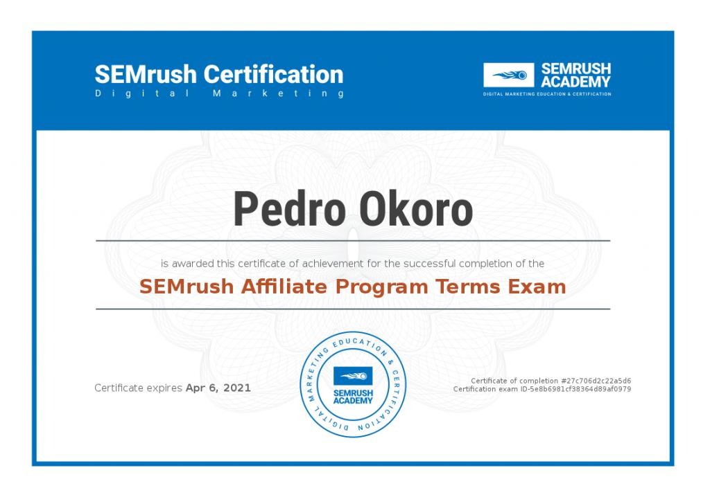 SEMrush Academy Certificate 27c706d2c22a5d6bbfe31658276466c3b5b80d14d434864120a221fd9e2cf64f