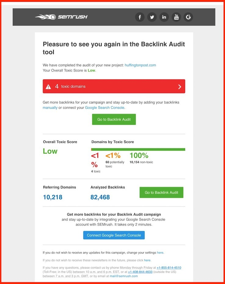 semrush followup email from backlink audit tool