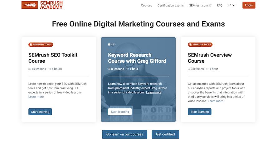 semrush academy - semrush certification - seo certification
