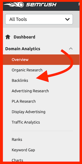 semrush backlinks tool