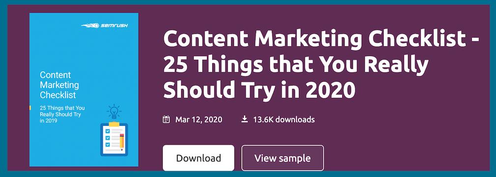 semrush free ebook content marketing checklist