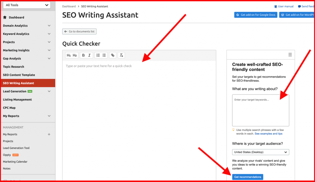 semrush seo writing assistant with quick checker