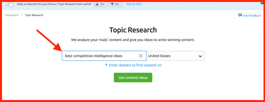 semrush topic research search box