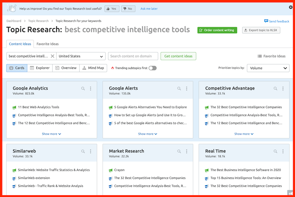 semrush topic research content creation ideas
