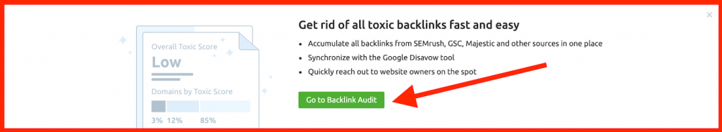 semrush disavowing toxic backlinks