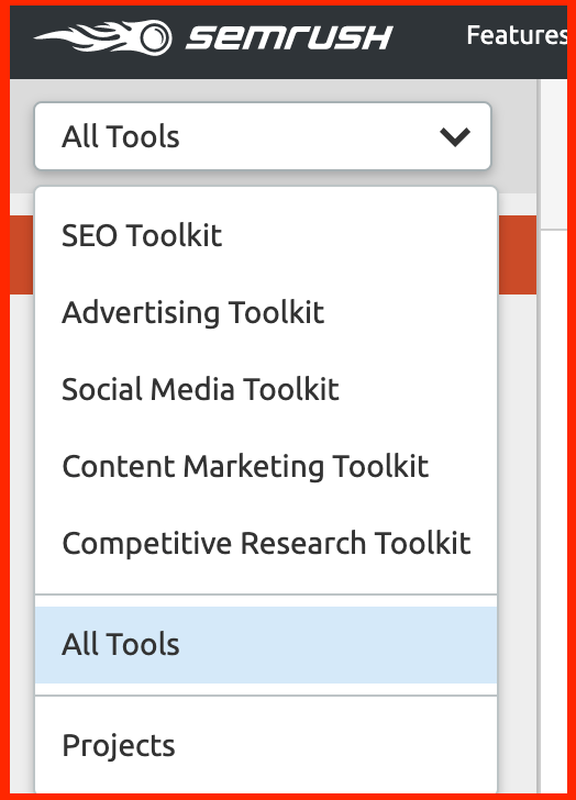 semrush vs ahrefs - semrush toolkit