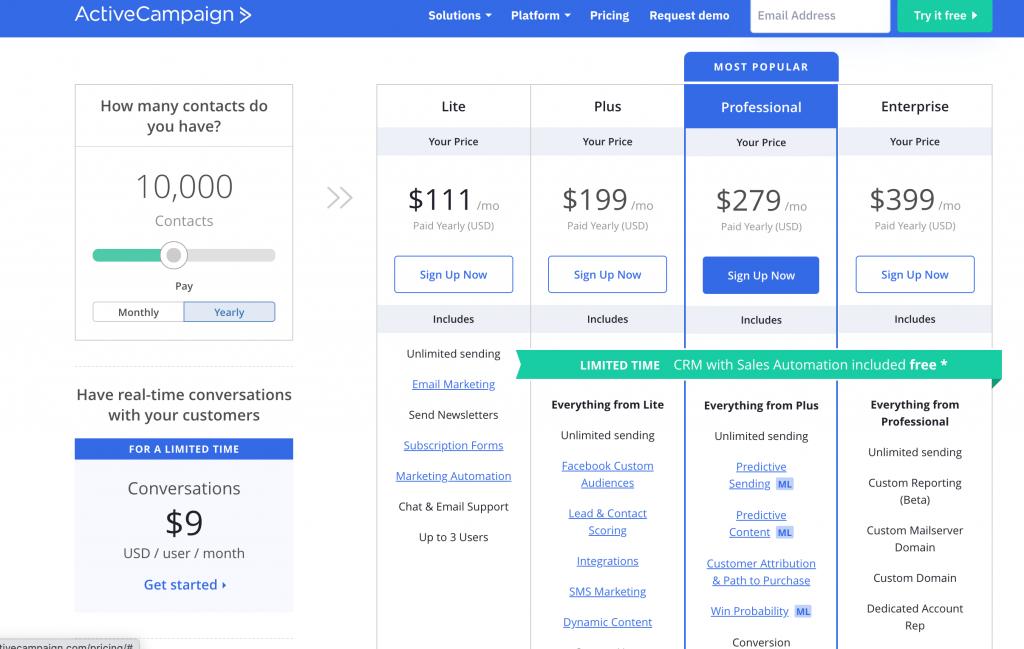 convertkit vs activecampaign - activecampaign 10k price plan
