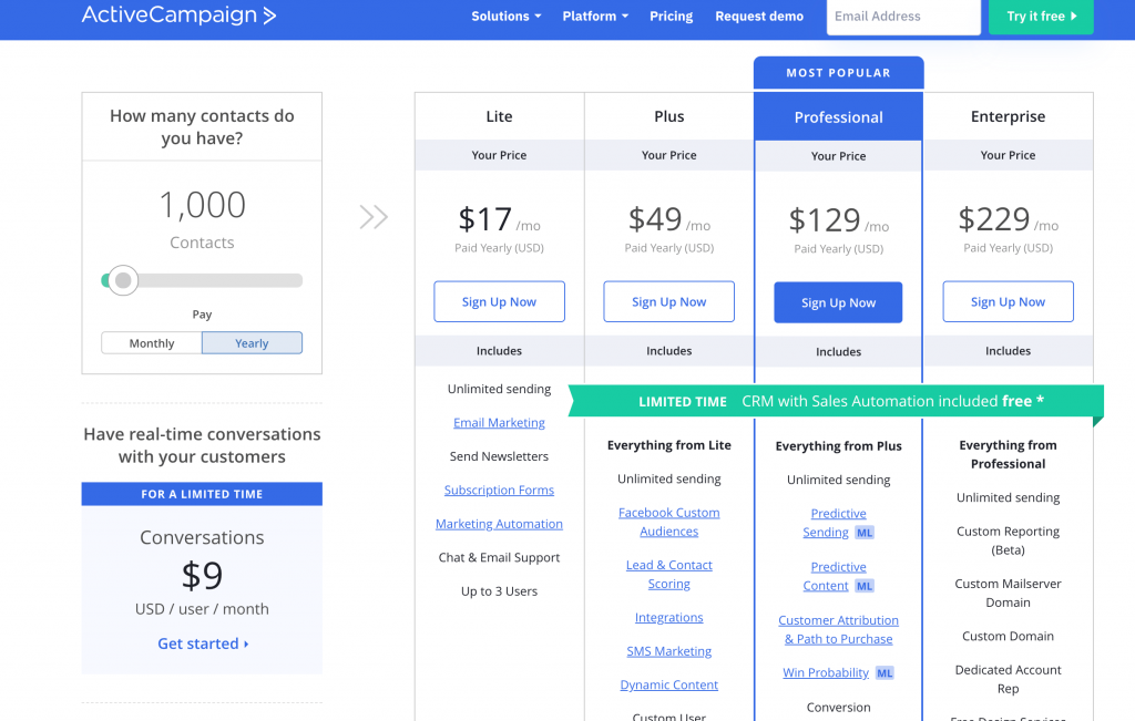 convertkit vs activecampaign - activecampaign 1k price plan, switch