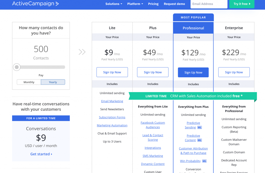 convertkit vs activecampaign - activecampaign 500 contact price plan, switch