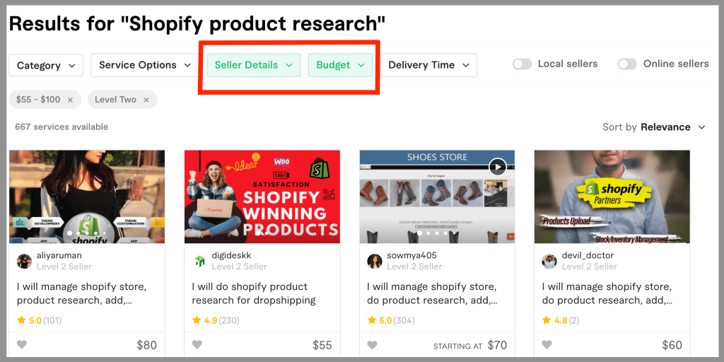 dropshipping-business-fiverr-search-filters-applied