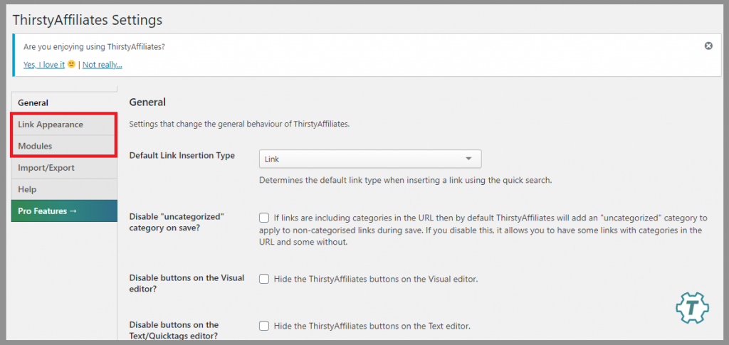 5 thirsty affiliates settings