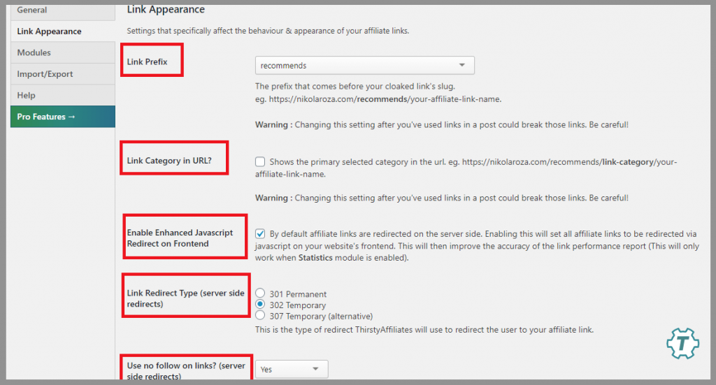 7 thirsty affiliates appereance settings