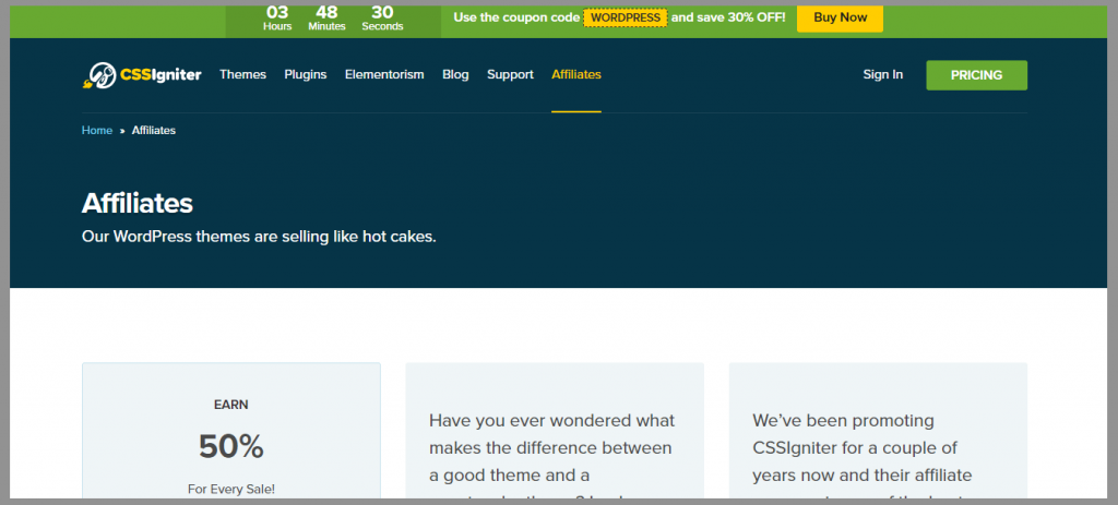 8 css igniter affiliate program wordpress affiliate programs
