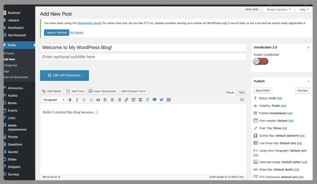 Bluehost-self-hosted-wordpress-First-Blogpost