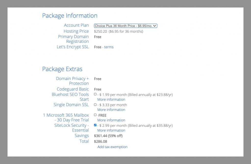 bluehost-self-hosted-wordpress-package-info