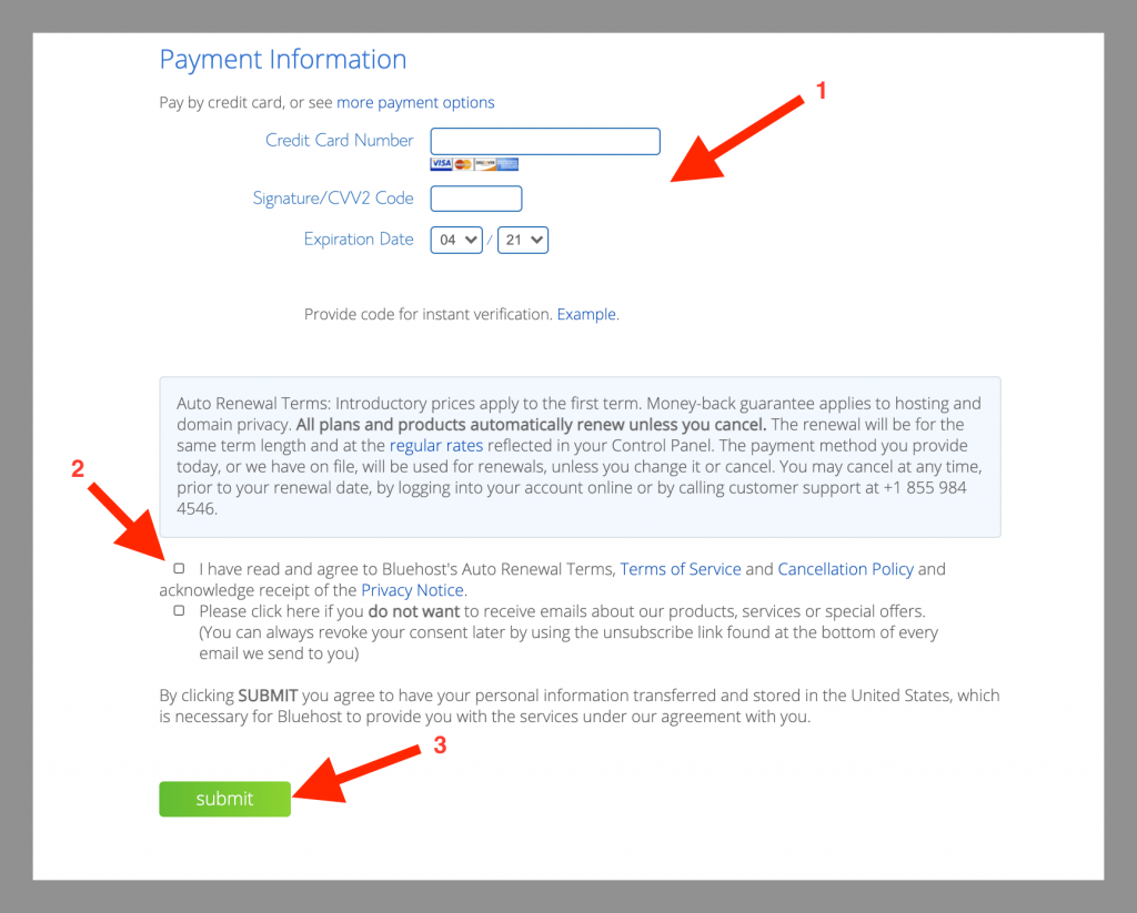 bluehost self hosted wordpress payment info 1