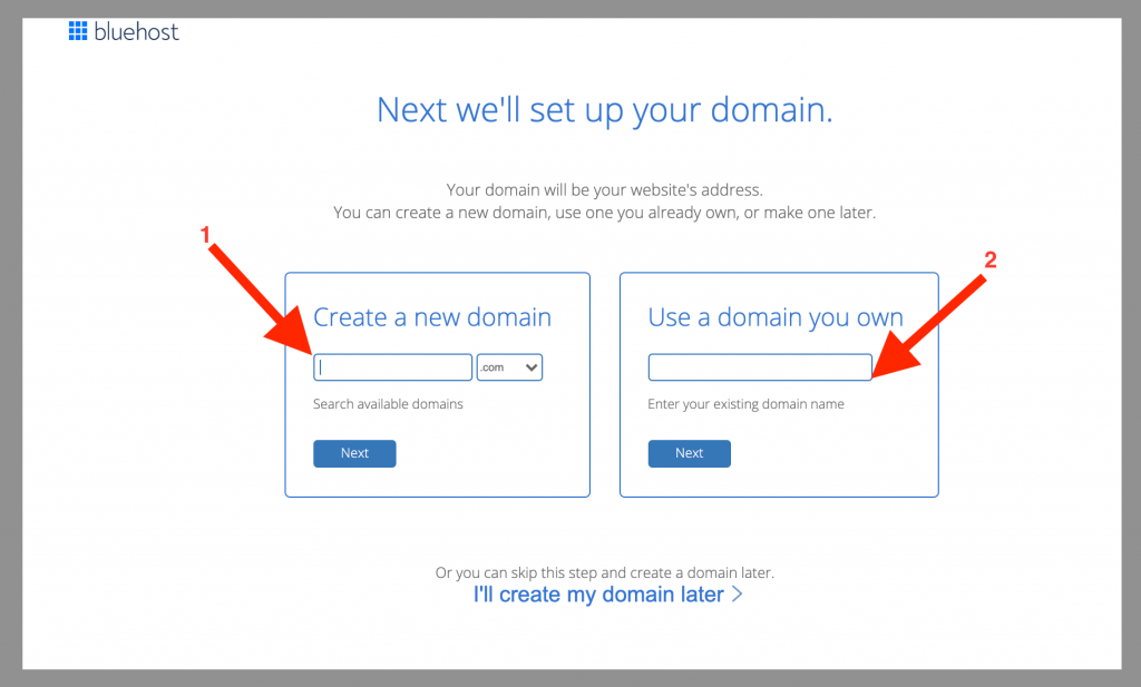 bluehost self hosted wordpress set up your domain