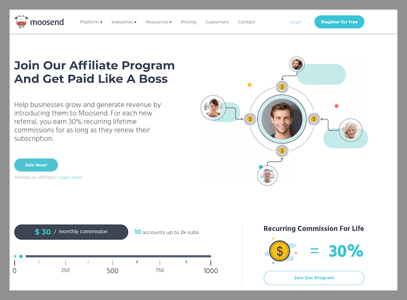 moosend best affiliate programs with recurring commissions