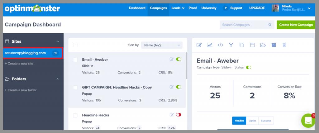one-website-dashboard-optinmonster-reviews-best-lead-generation-tool