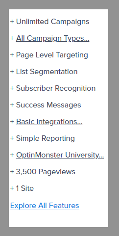 4 basic plan features optinmonster review best lead generation tool